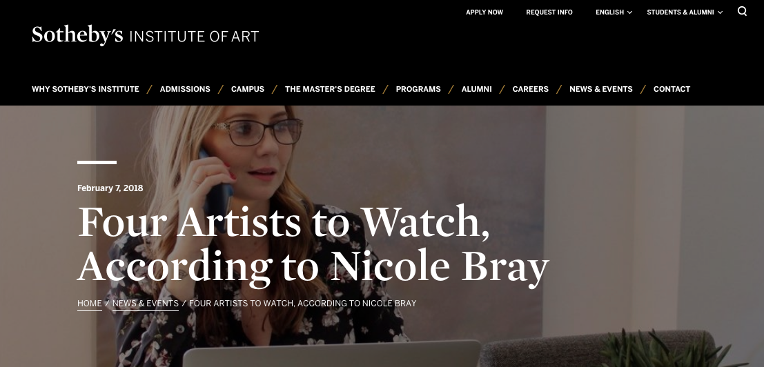 Nicole Bray Sotheby's institute of art artists to watch.png