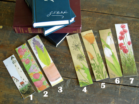 seven bookmarks made from my original paintings