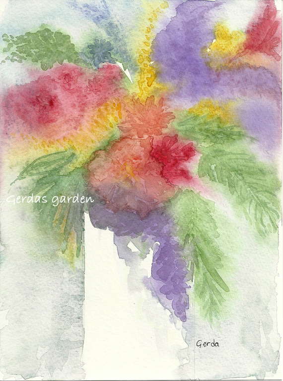 """Floral in a Vase"" watercolor on paper, impressionist style"