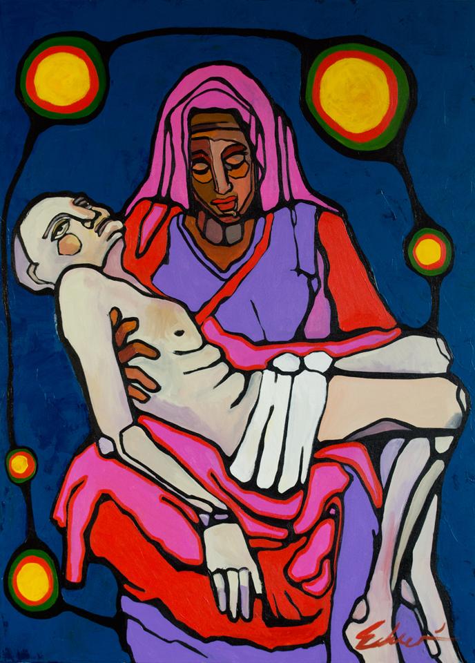 Immigrant Pieta, acrylic on canvas, 2013