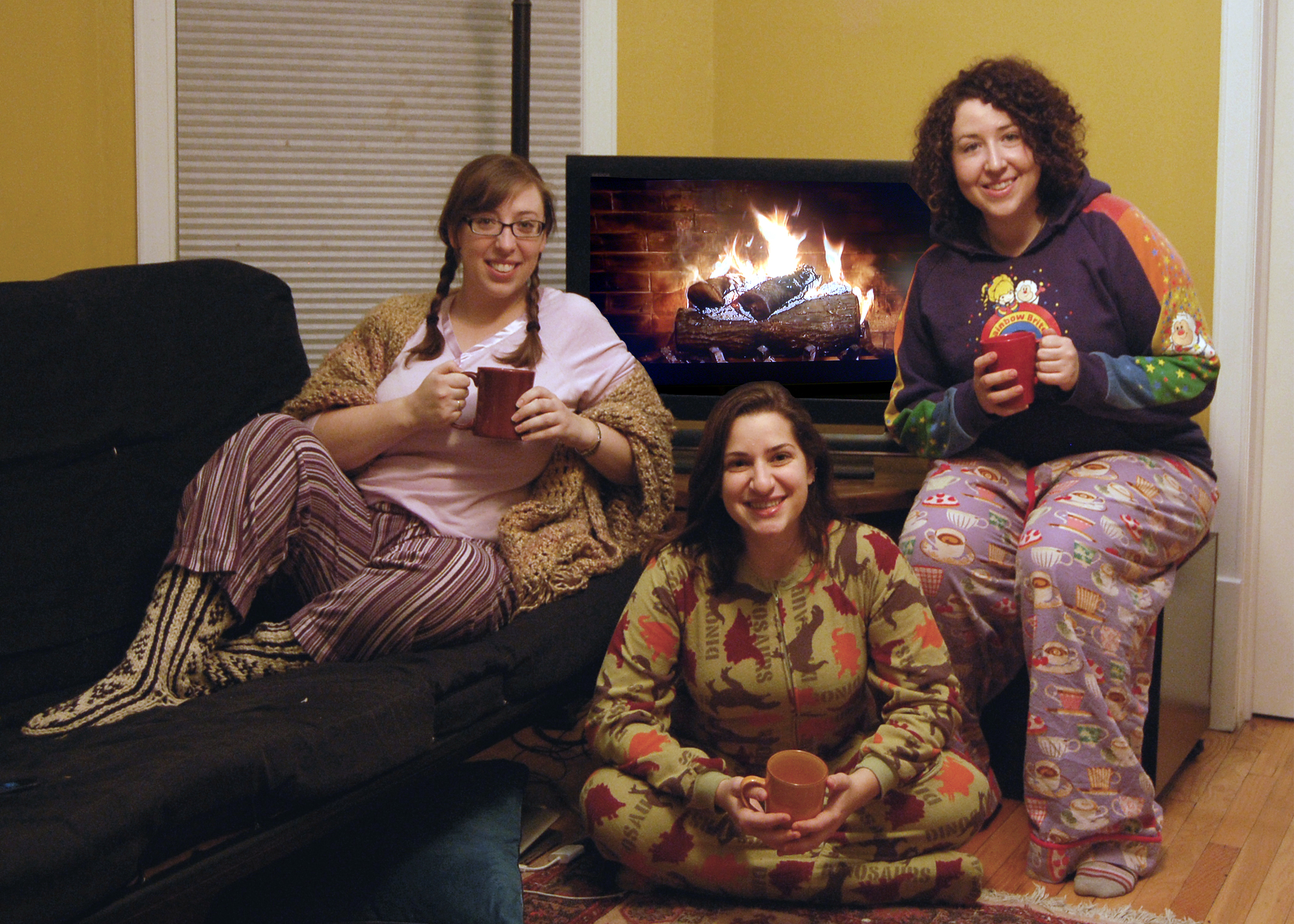 Our holiday card for 2012. Clearly, Rebecca, Yonit and I are sporting our finest patterns!