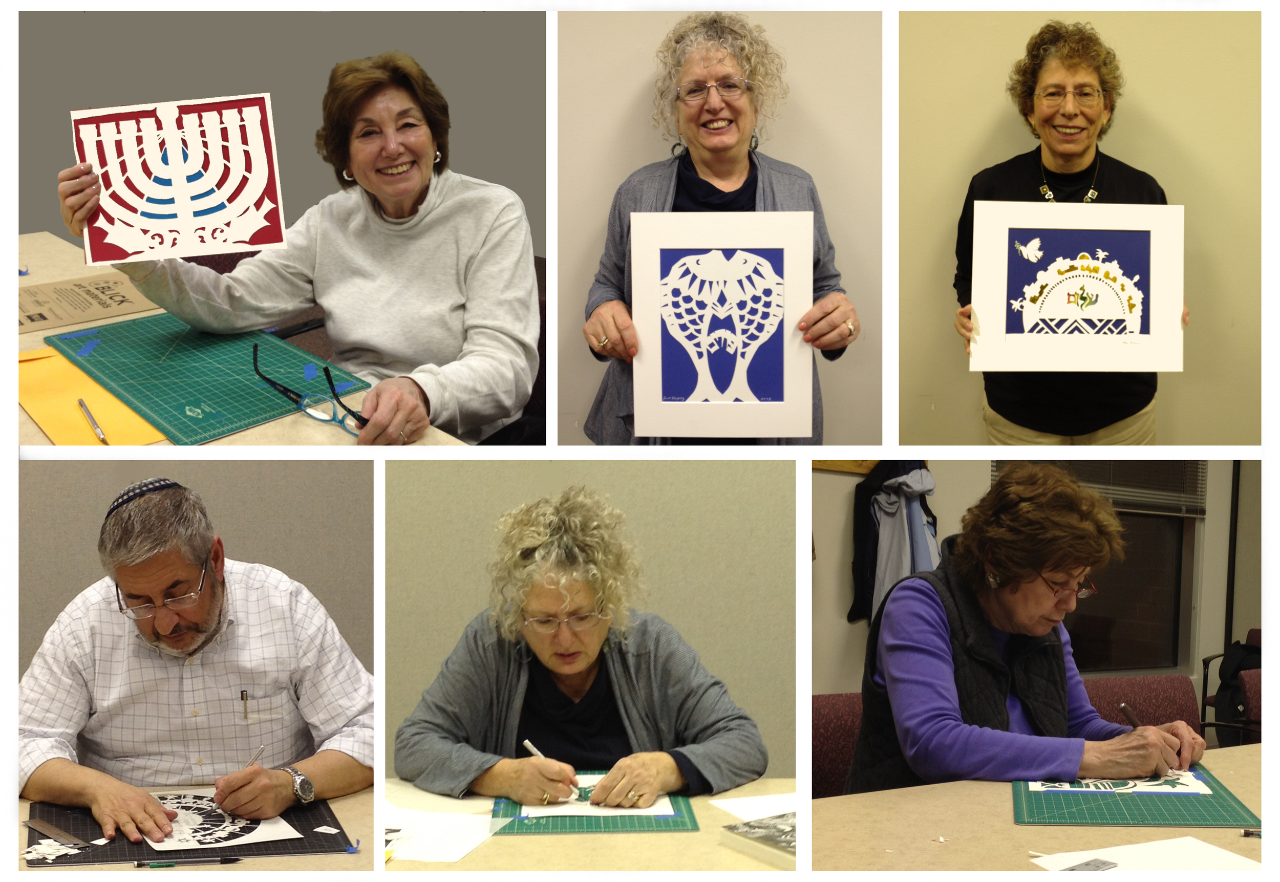 Jewish Papercut Arts class  taught by Shifra Whiteman. Chicago. Fall 2012.