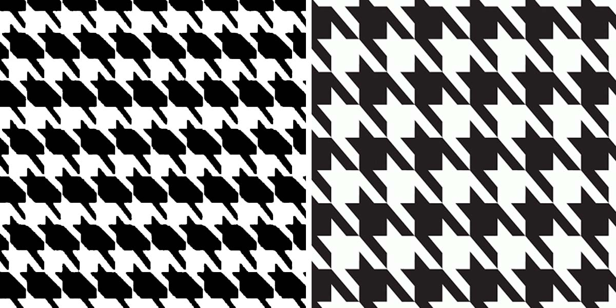Left: Catstooth. Right: Traditional Houndstooth.