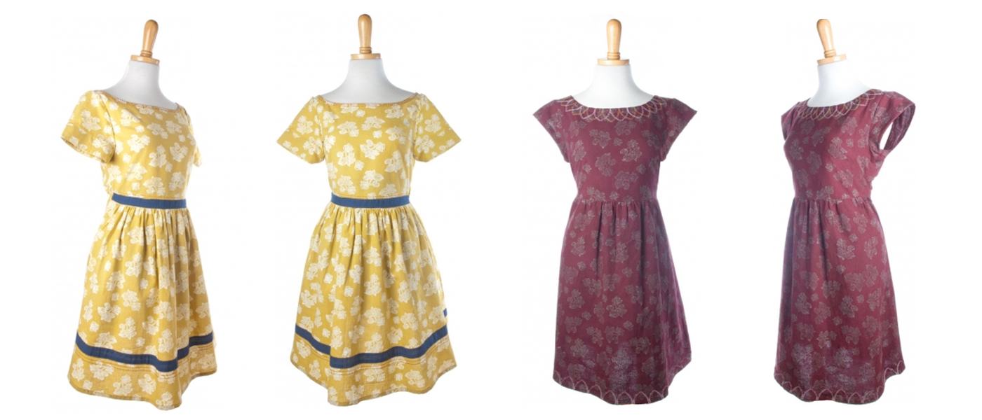 Left:  Moonrise Dress      RIght:  Eternal Petal Dress  from  Mata Traders . Textile design by Shifra Whiteman.