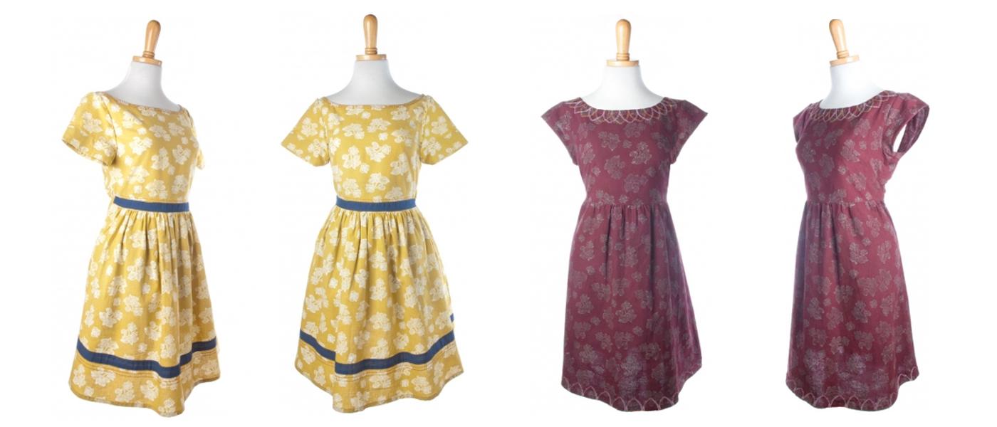 Left:  Moonrise Dress    RIght:  Eternal Petal Dress  from  Mata Traders . Textile design by Shifra Whiteman.