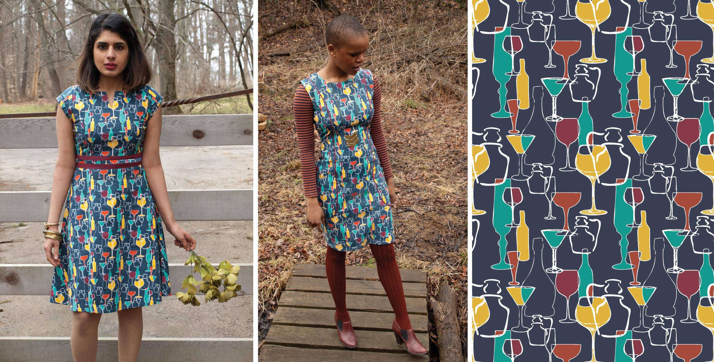 Left: First Dance Dress. Middle: Starling Pockets dress. Textile design by Shifra Whiteman.