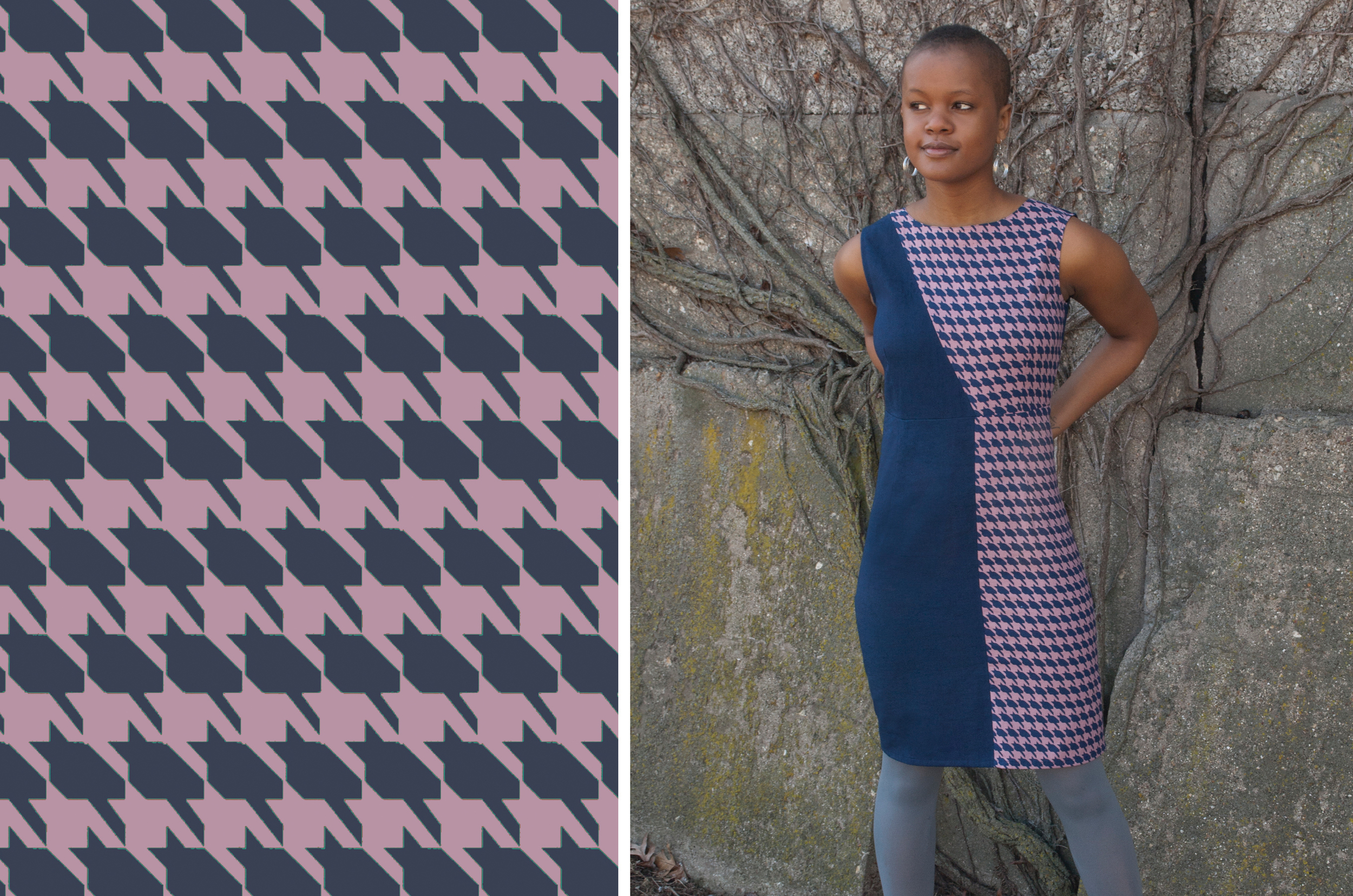 "Textile design ""Catstooth"" print by Shifra Whiteman. Dress available on ModCloth & Mata Traders."
