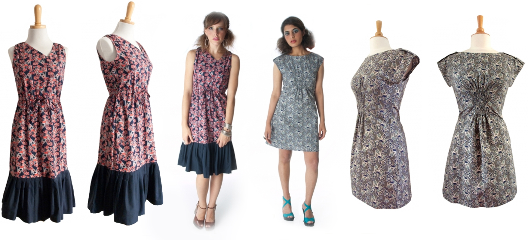 Tools of the Trade print. Dahee Dress on the left and Shanghai Shift Gray on the right.