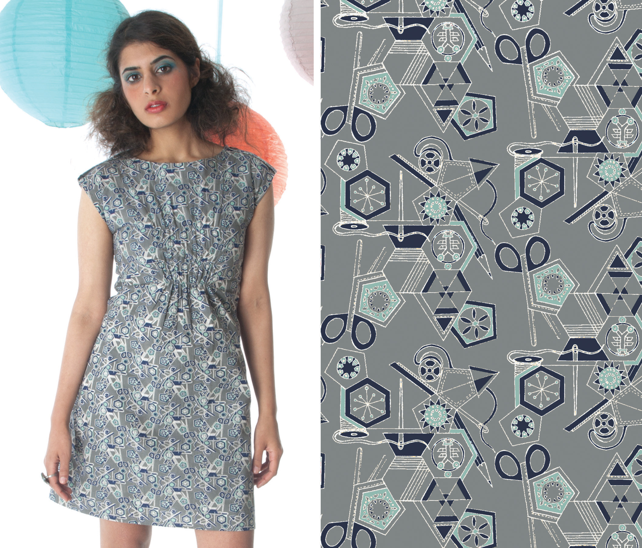 Tools of the Trade print - Textile design by Shifra Whiteman. Dress by Mata Traders.