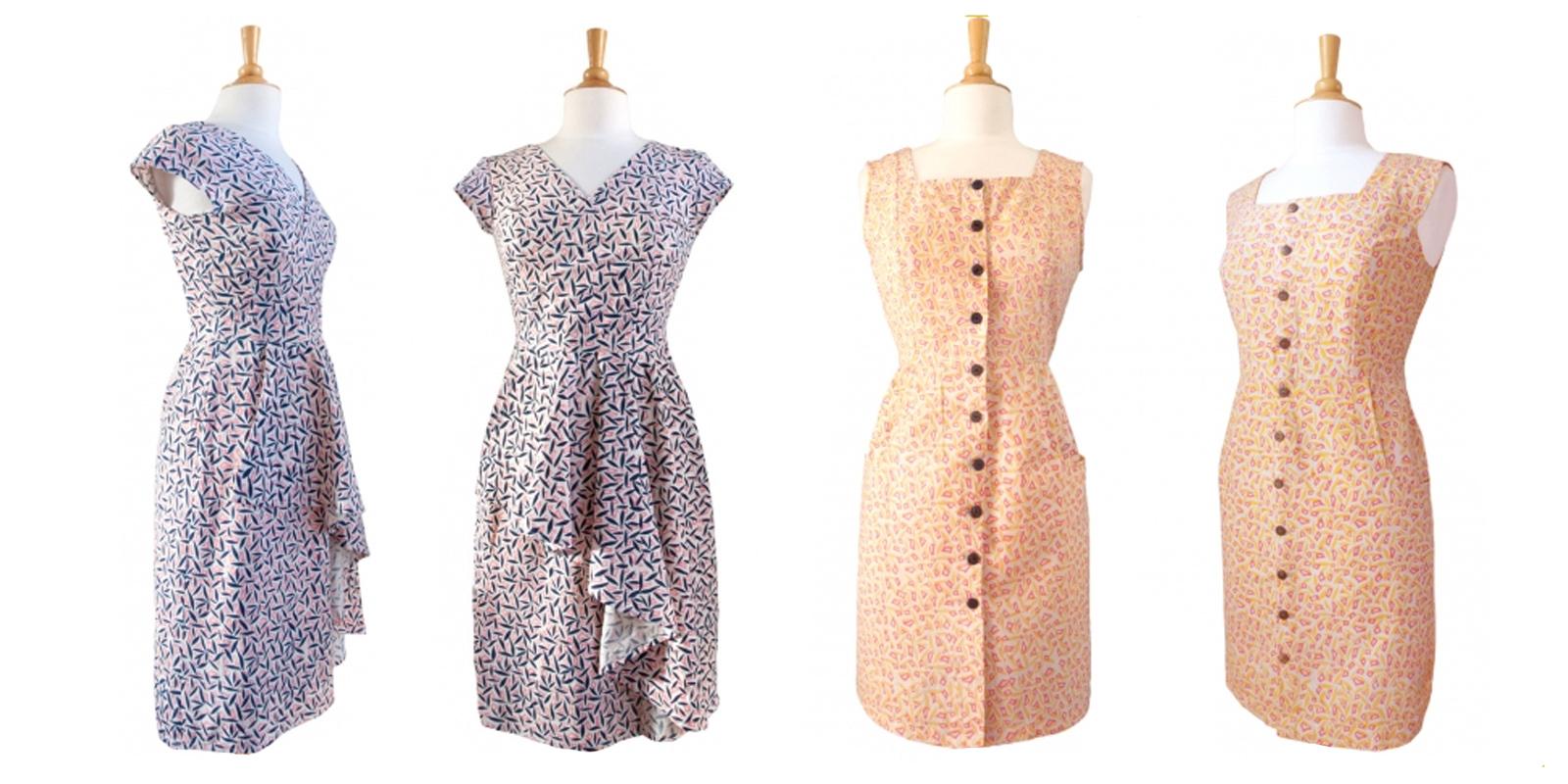 Jin Ju Ruffle Dress pink/blue and Pagoda Pocket Dress yellow. Textile design by Shifra Whiteman.