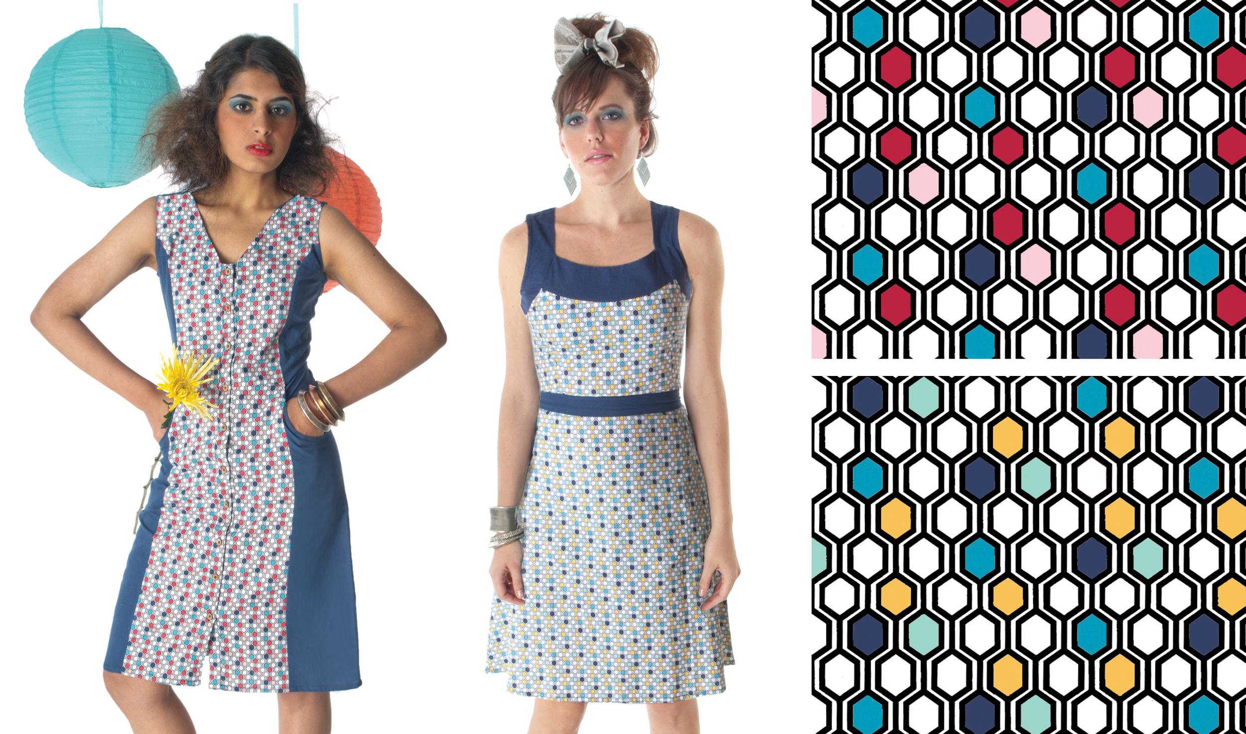 The  Hexagon Gone  Print. Textile design by Shifra Whiteman. Dresses by Mata Traders.