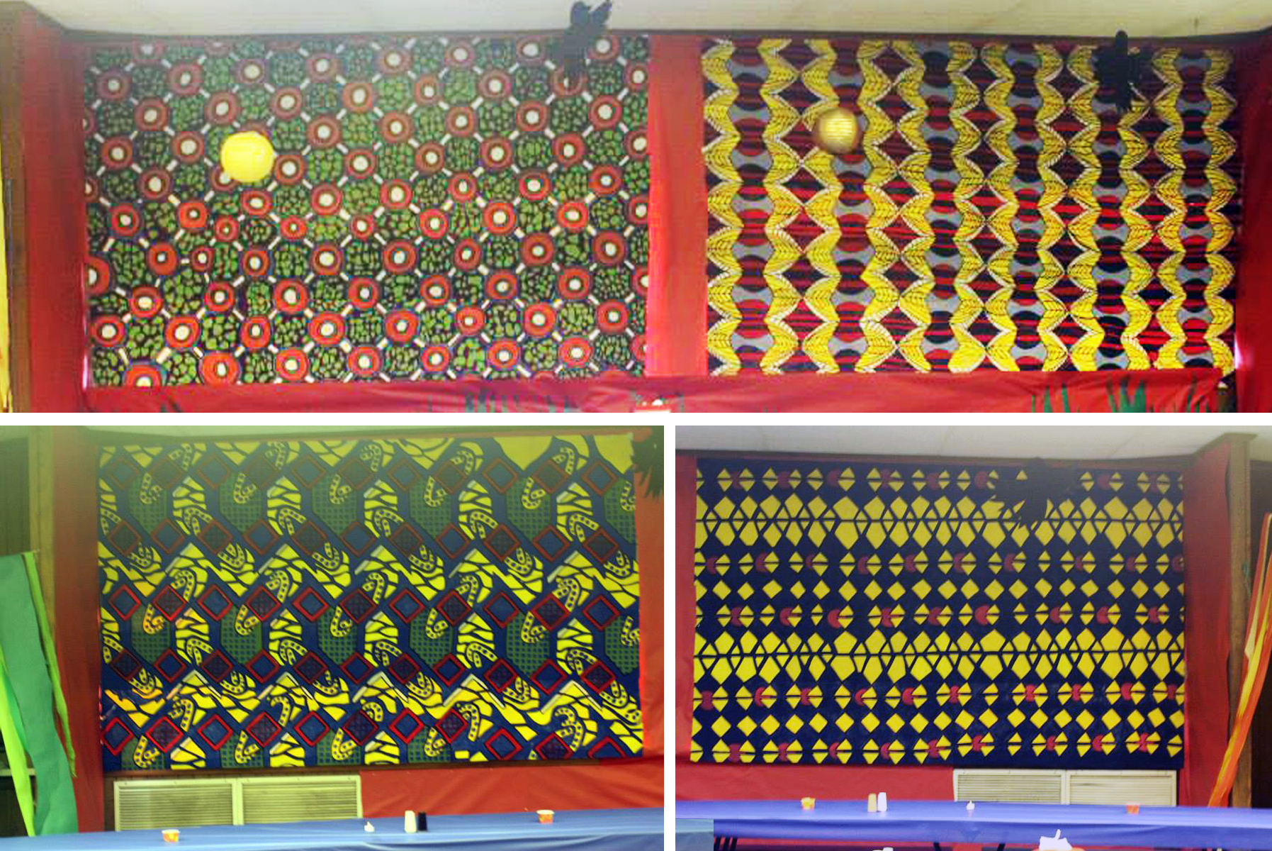 Painted panels of traditional Kente cloth and African Dutch Wax batik prints.