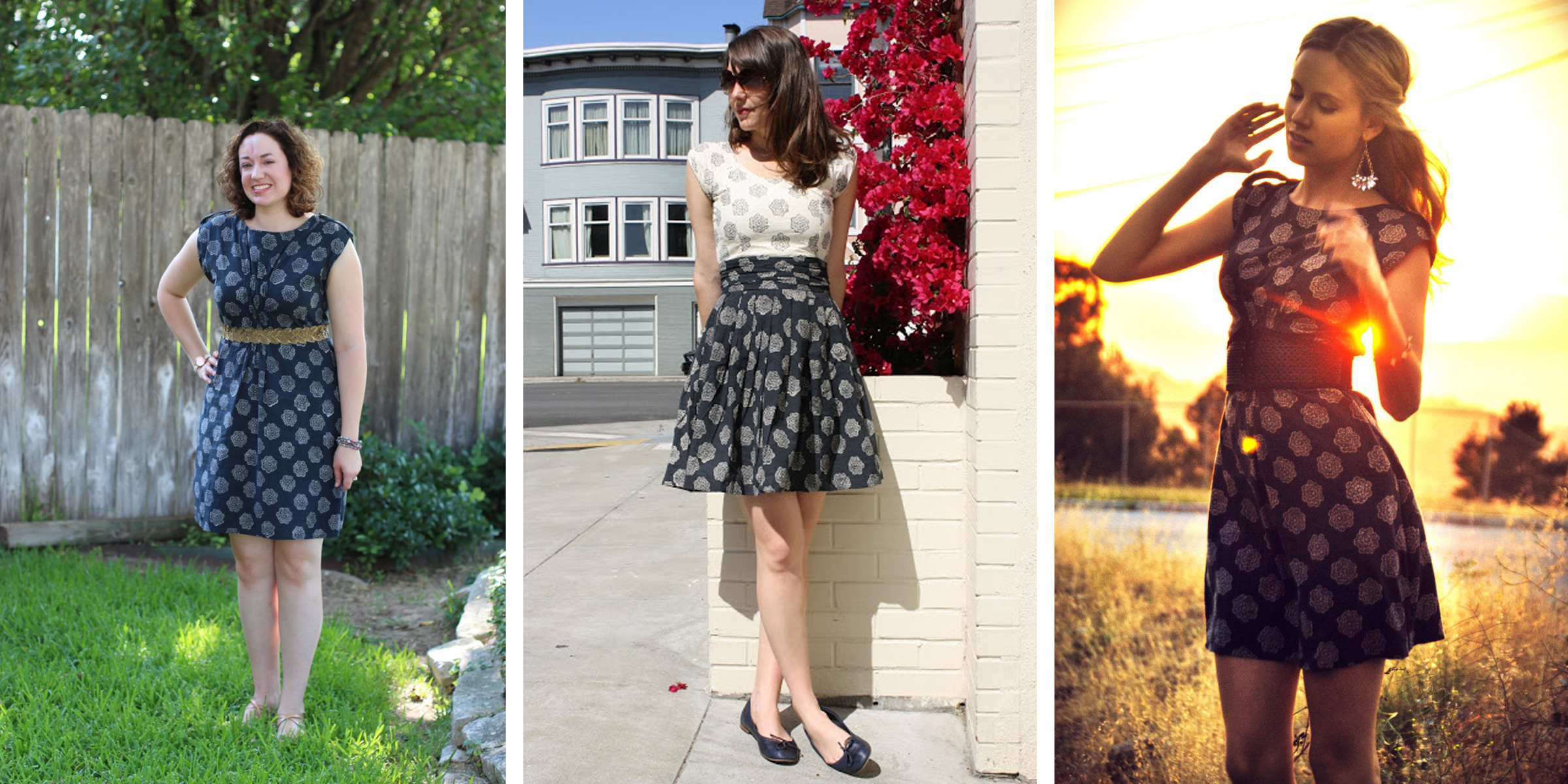 Bloggers who have featured the  Pinwheels  print from left to right: Walking with Cake, Birds of a Thread and  Lindalind.