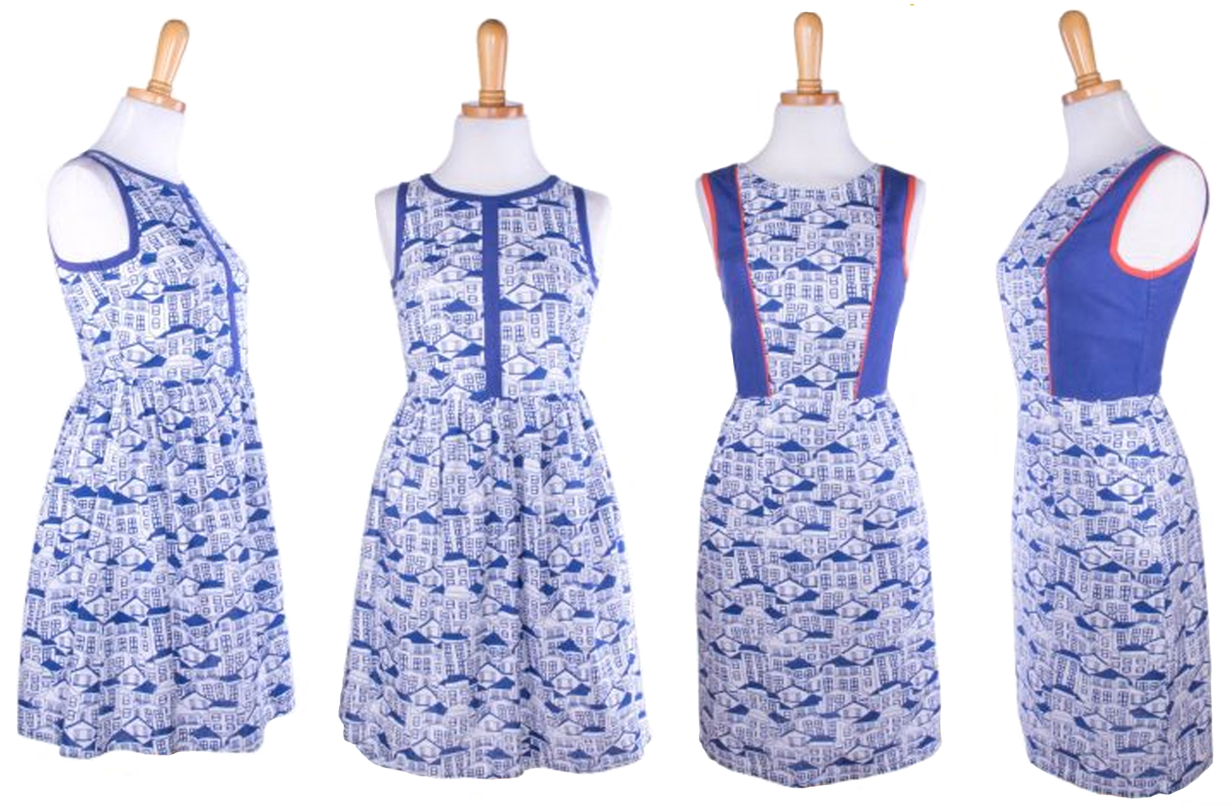 Left: Summerfest Dress (Houses)      Right: Starboard Dress (Houses)