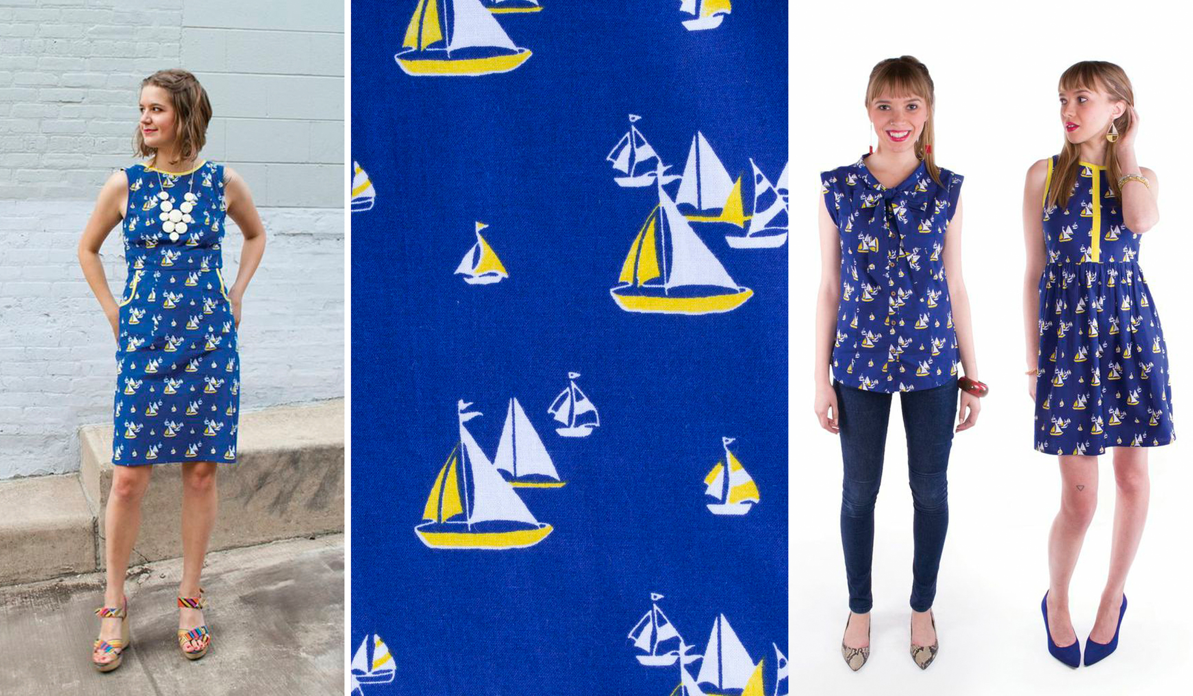 Sailboats. Textile design by Shifra Whiteman. Garments by Mata Traders.