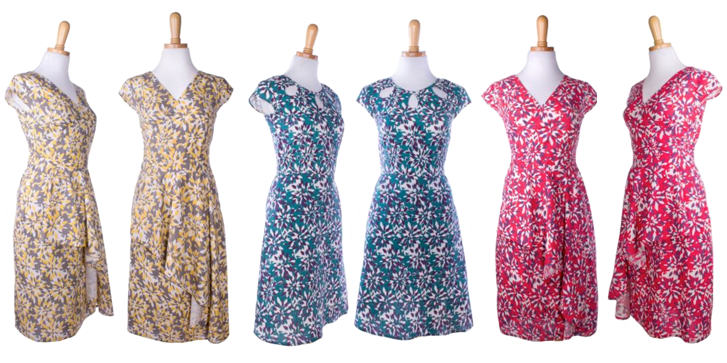 Left & Right - Flights of Floral dress     Middle- Keyhole Cut Out Dress