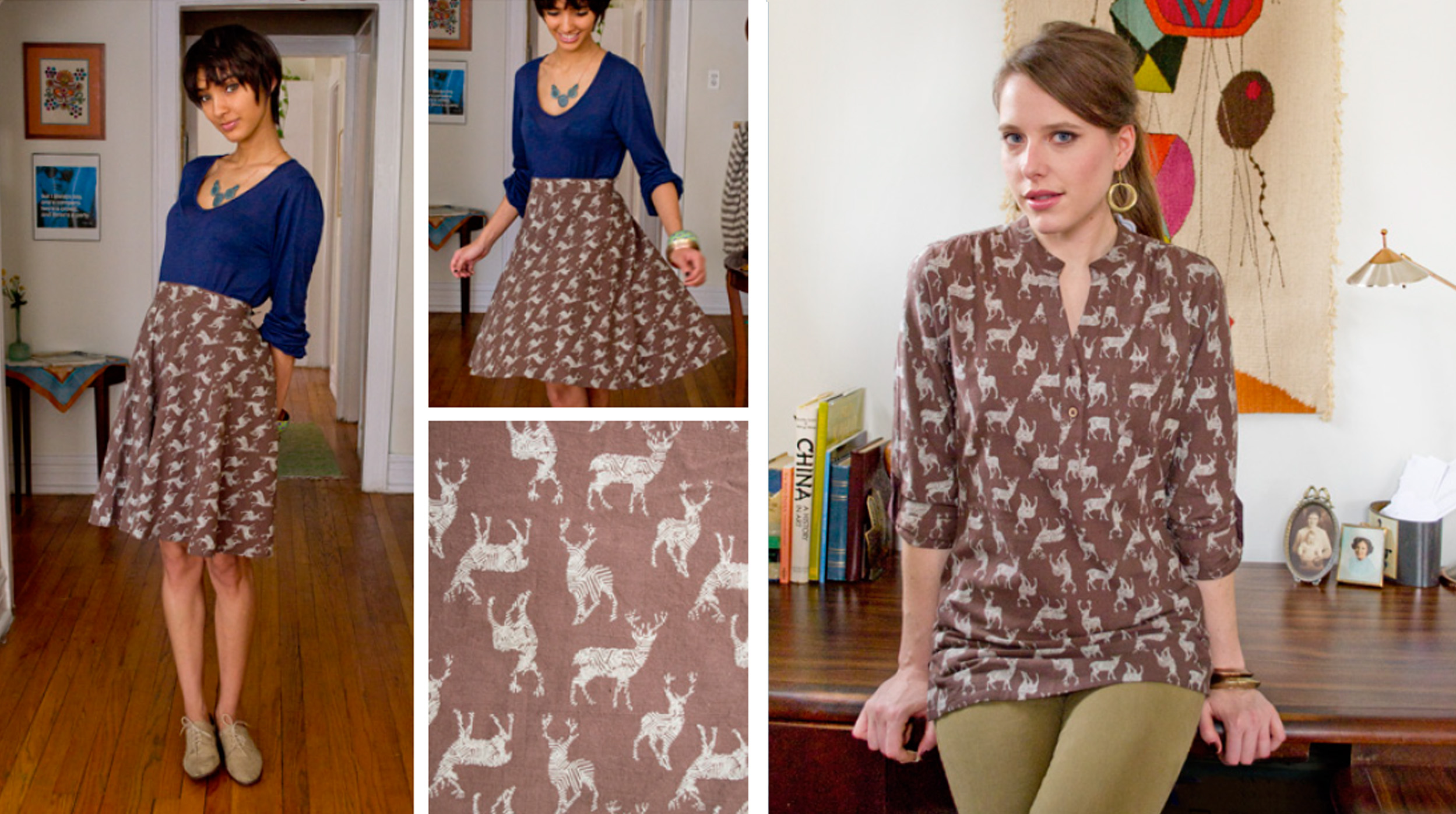 The  Buck Stops Here  skirt and the  Near and Deer  top. Loving the puns!