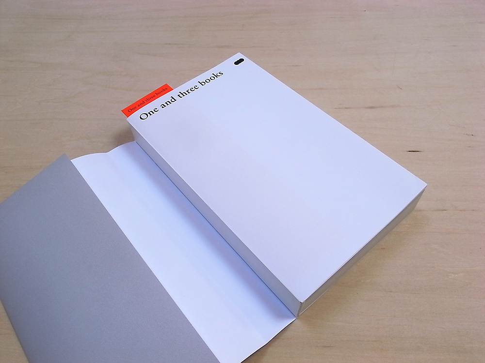 カバーを取った状態。今回の本は背の綴じ方に特徴があります。