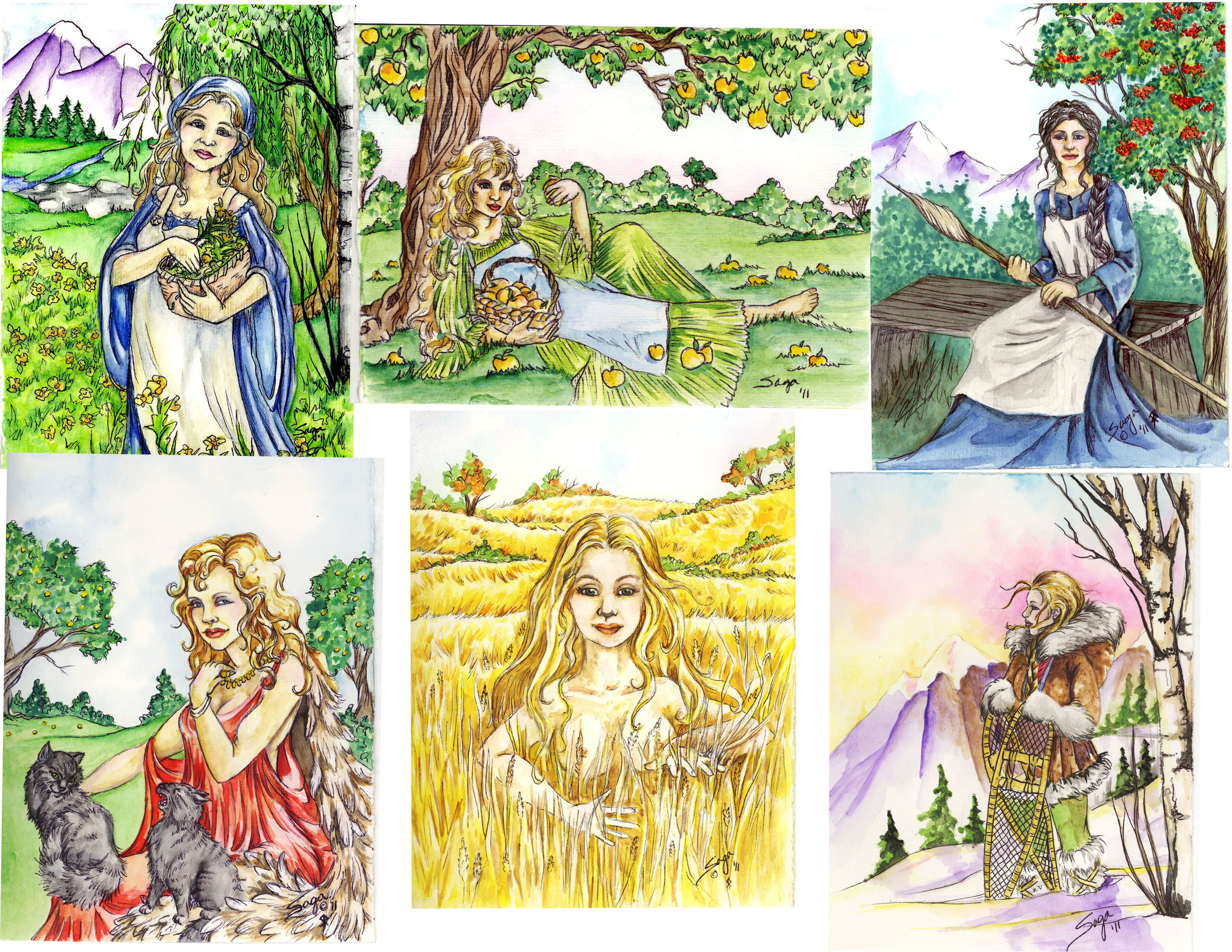 Norse Goddesses greeting card collection