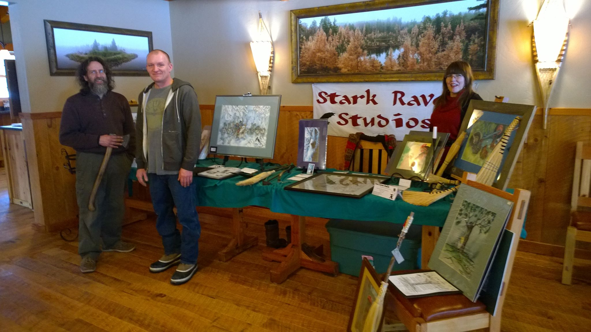 Dan Roesinger, Doug Kikkebusch and Saga Erickson at Cranberry Inn's first Wine and Art event