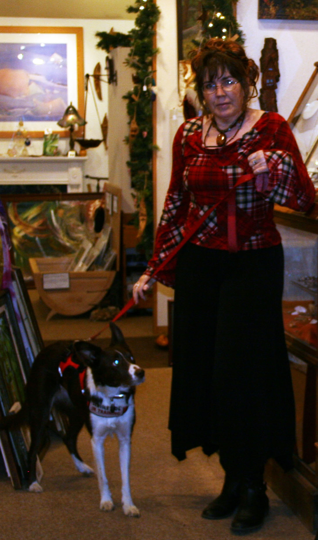 At Z Place Gallery in Ironwood Michigan with my faithful companion, Willow