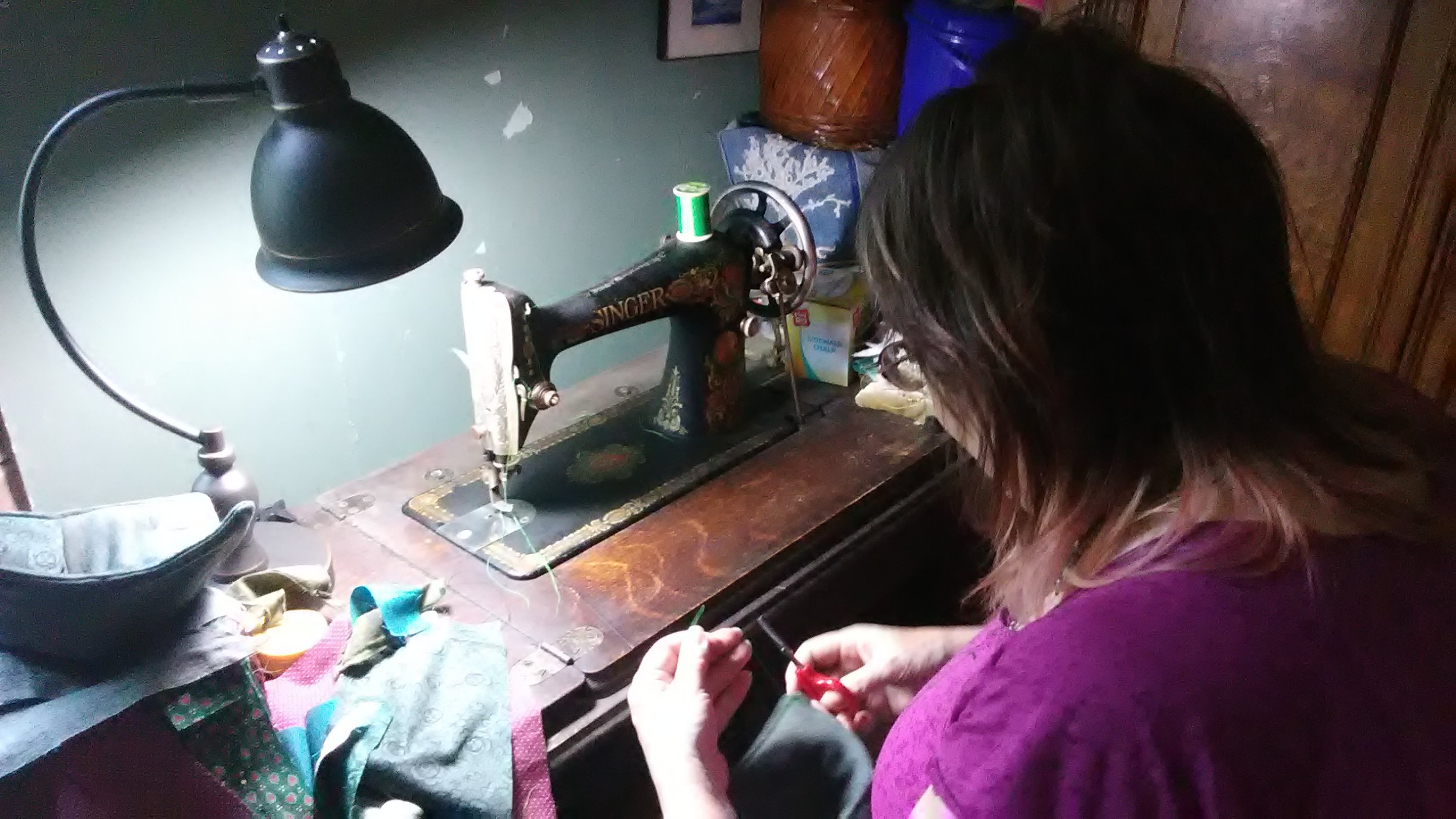 Making Bowl cozies on my Singer Red-eye treadle machine from 1919