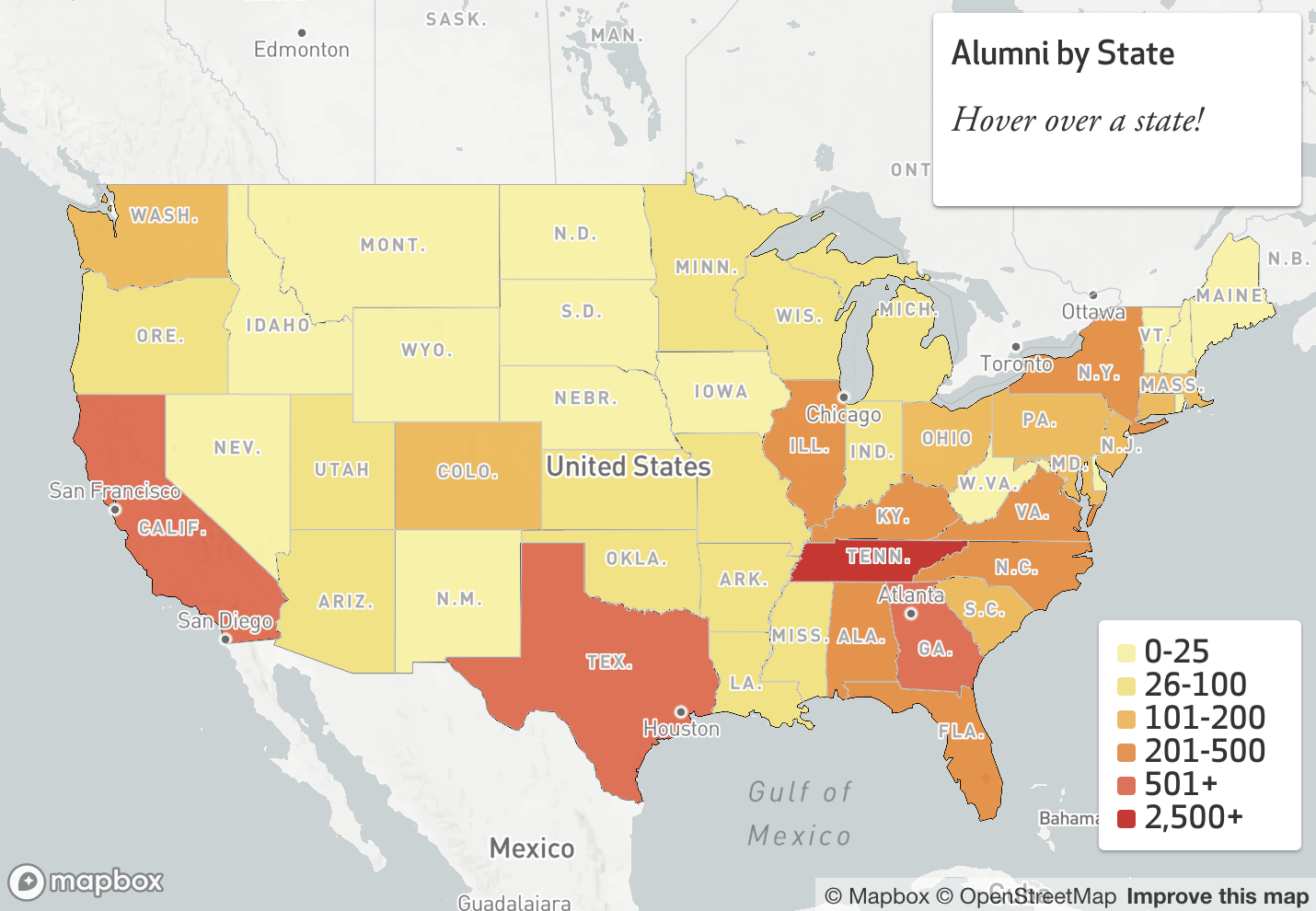 Interactive Maps - Hover and click on this series of interactive maps that show where Vanderbilt Business alumni live across the nation.
