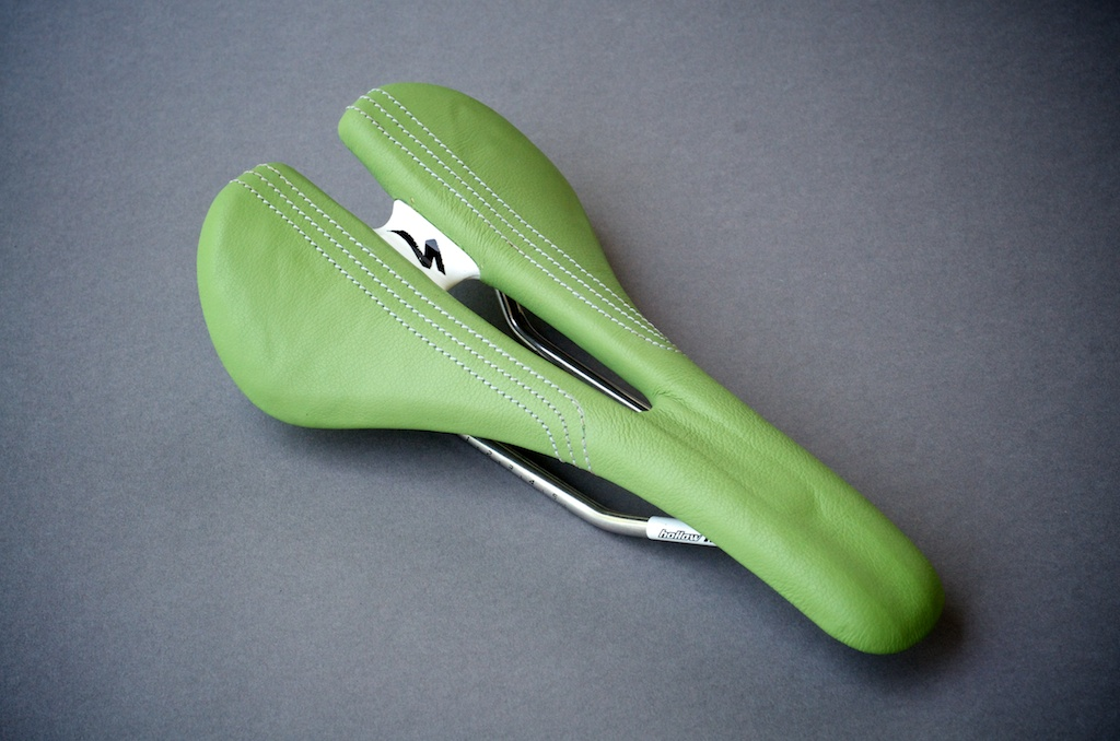 Speciaized Romin-expert-ti-lime-green-cannondale berserker green Pro leather-made-usa-texas-austin-leh-seats-saddle-carson-leh-laser-cut-recover-reupholster-repair 1.jpg