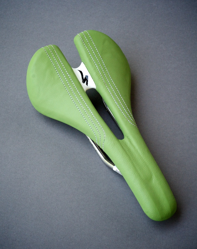 Speciaized Romin-expert-ti-lime-green-cannondale berserker green Pro leather-made-usa-texas-austin-leh-seats-saddle-carson-leh-laser-cut-recover-reupholster-repair 3.jpg
