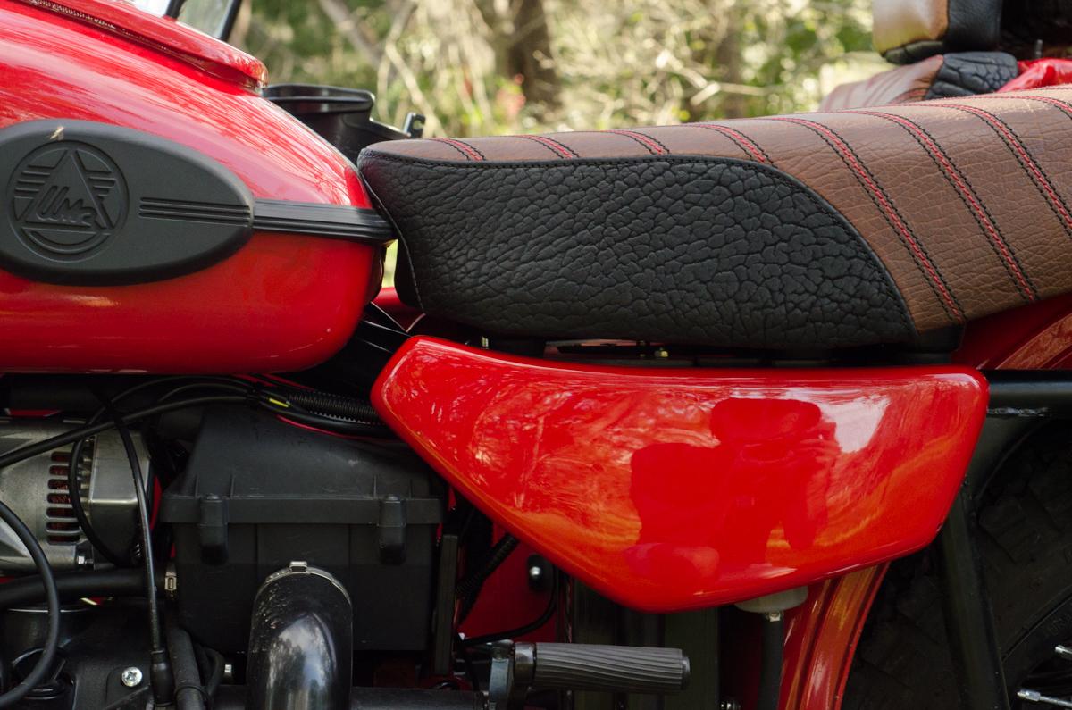 Ural Patrol side car red custom motorcycle leh cycling goods bison leather black brown custom motorcycle -3.jpg