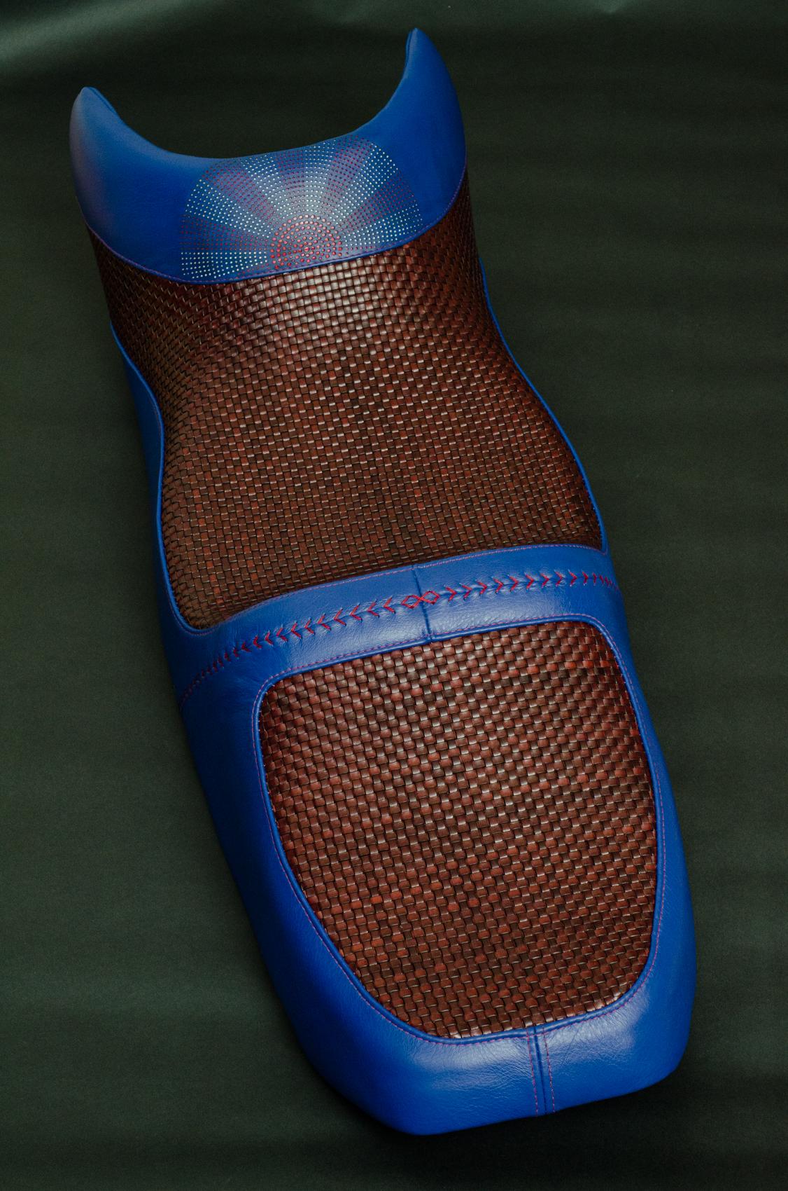 Honda VFR woven rising sun saddle custom leather hand made usa leh cycling goods -1.jpg