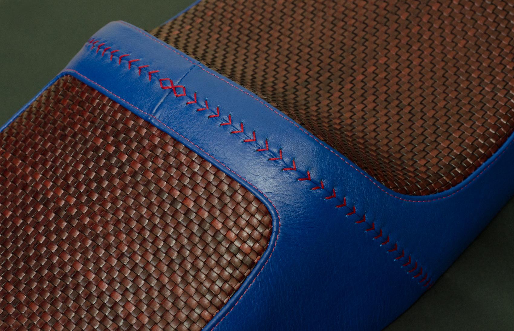 Honda VFR woven rising sun saddle custom leather hand made usa leh cycling goods -6.jpg