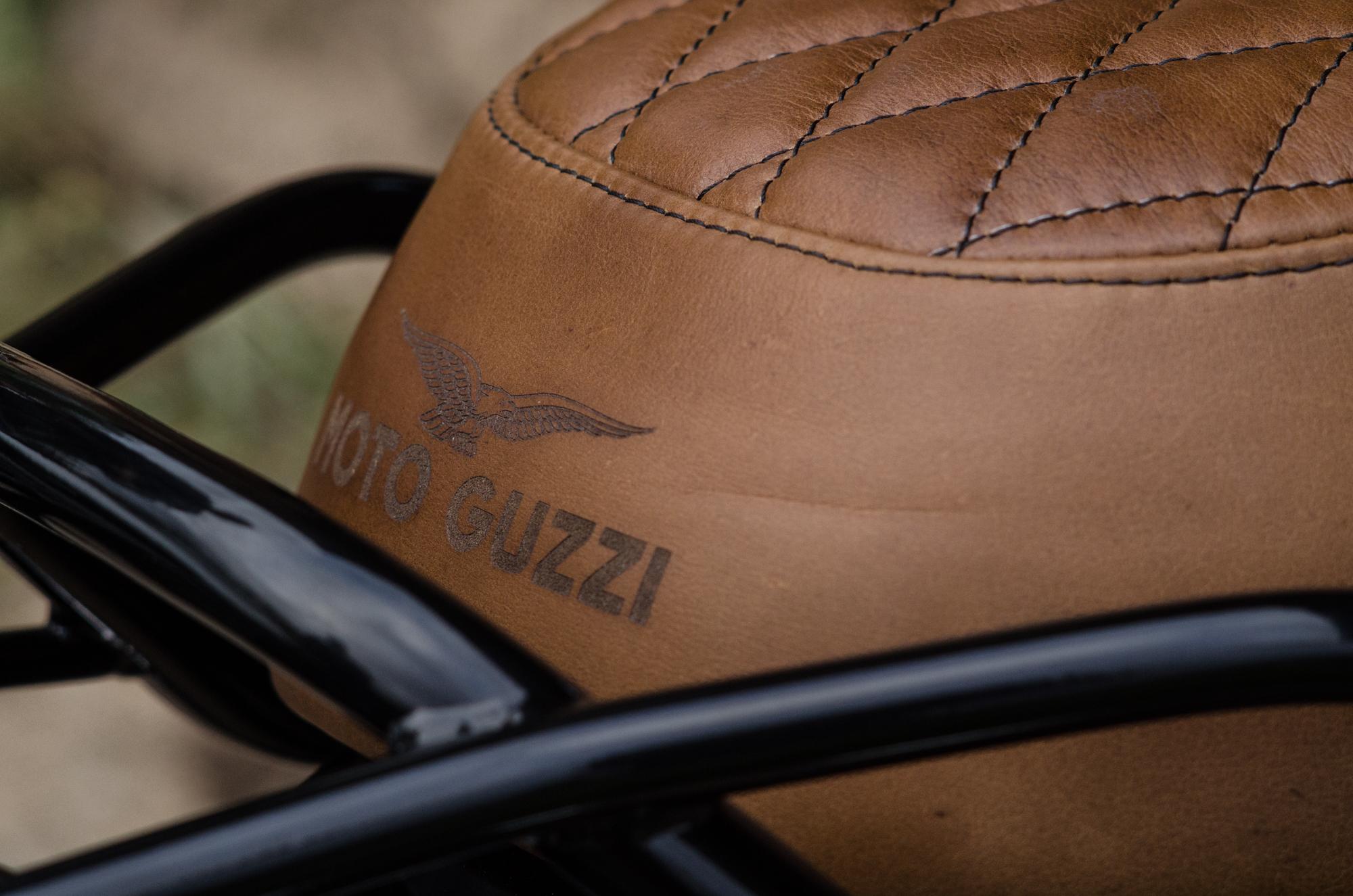 Obsidian Leather Goods Custom Moto Guzzi leather saddle with etched logo- custom- -1.jpg