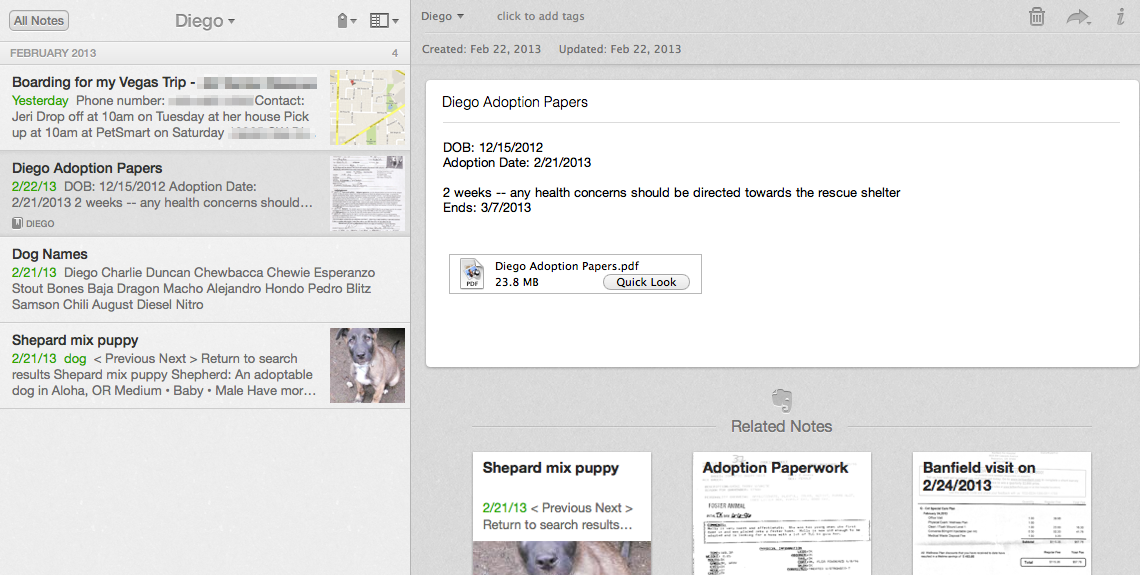 Diego notebook in Evernote
