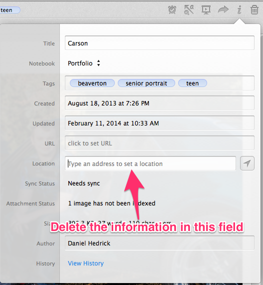 Remove location information before making the notebook public