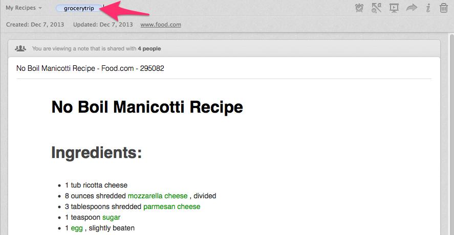 Tag a recipe in Evernote