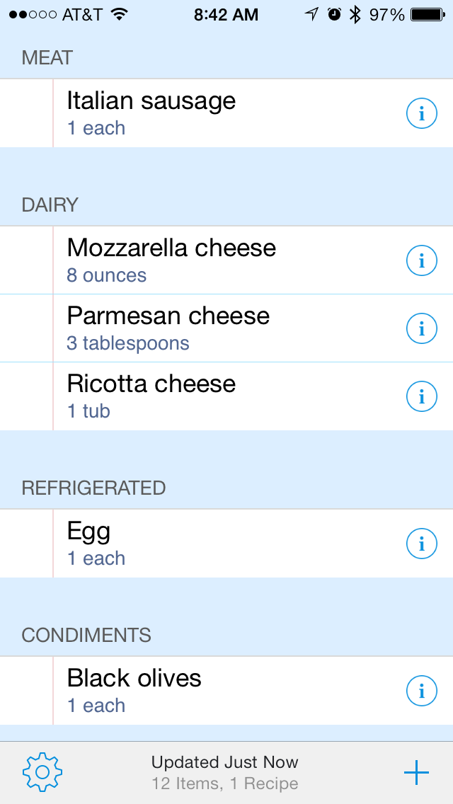 Ingredients are listed in GroceryTrip