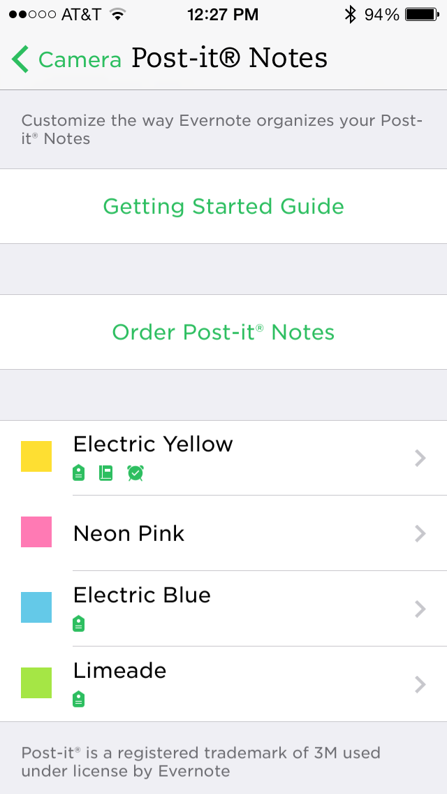 The Post-it Notes settings screen in Evernote for iOS