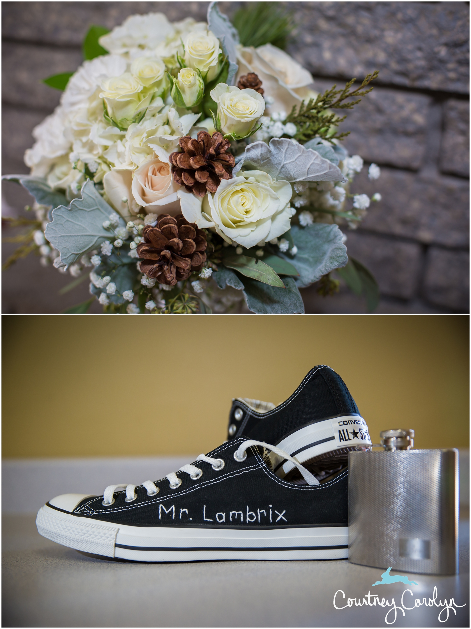 Wearing comfortable shoes was a must for their wedding day, and their Converse shoes were one of a kind, adorned with their last name, which the Mother of the Bride hand stitched herself.