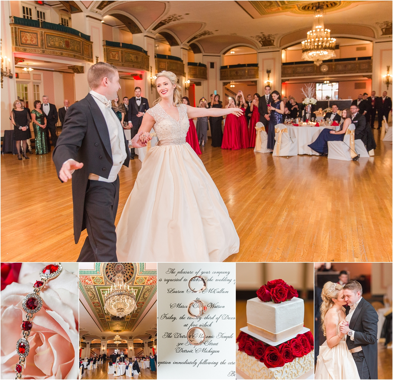 Iconic Black Tie Wedding at The Detroit Masonic Temple