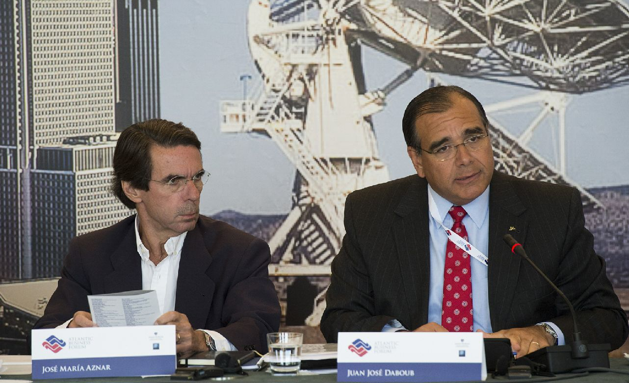 From left, José María Aznar, former President of Spain, and Dr. Juan José Daboub, former El Salvador Minister of Finance and Chief of Staff to the President