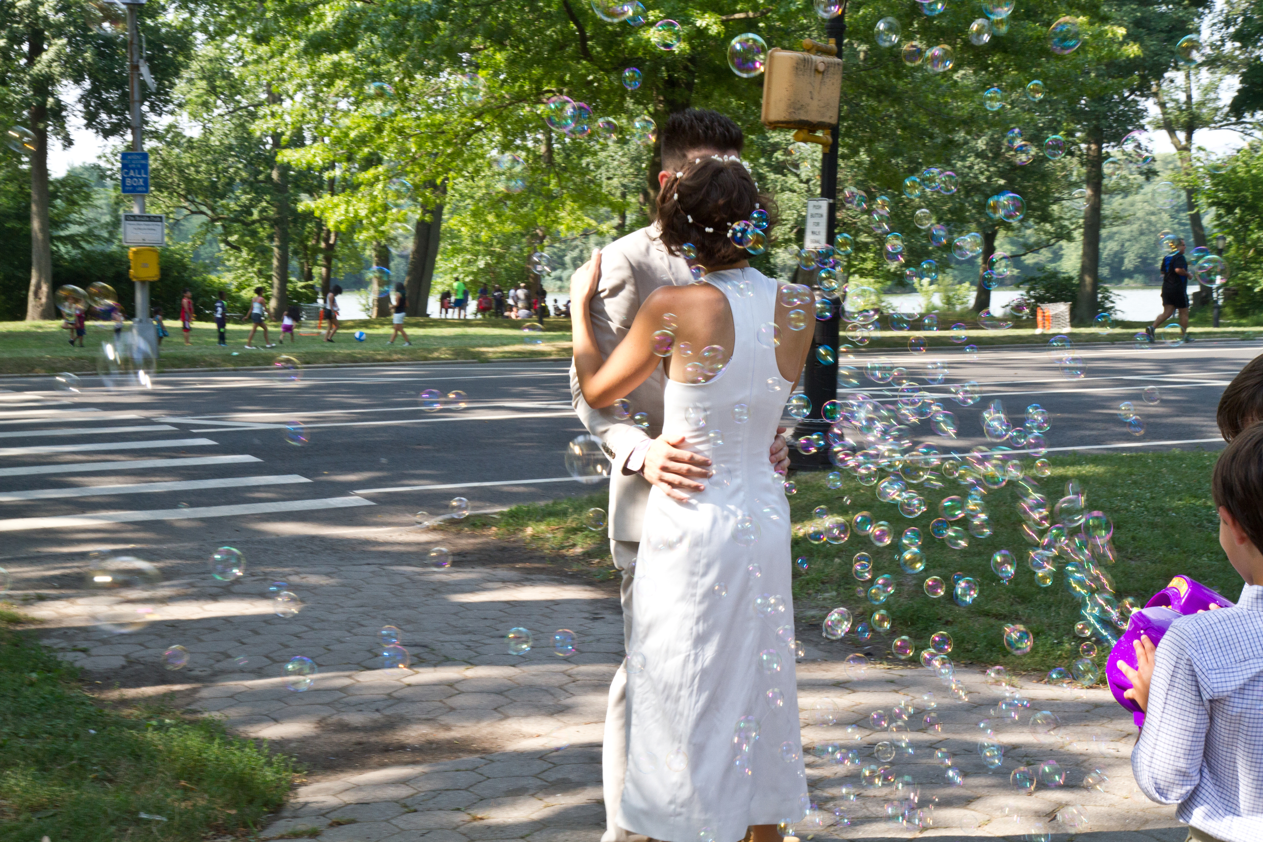 Custom cotton sateen wedding dress for a Prospect Park picnic wedding, for the gorgeous and talented graphic designer,  Leyla Moore.  Photo by JC Event Photography.