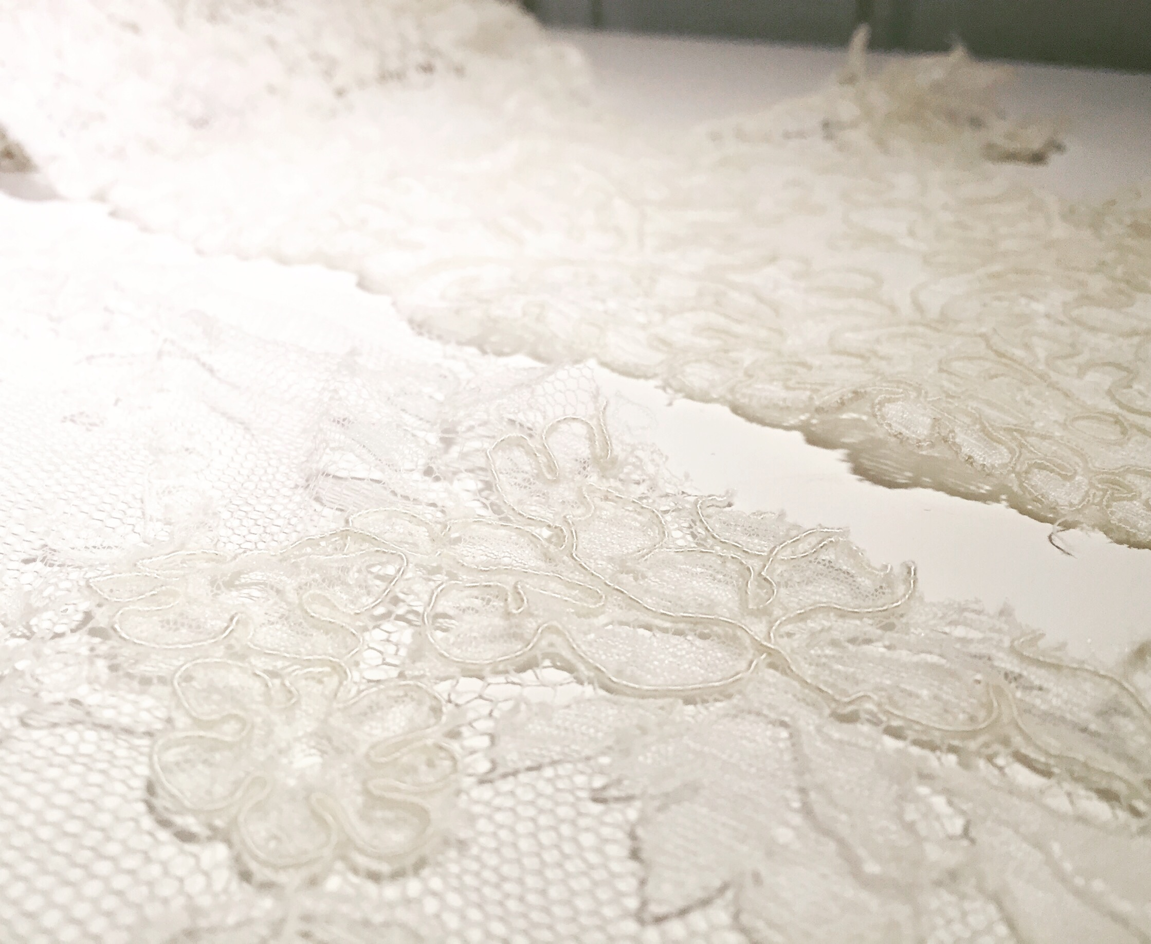 Alençon lace. It is distinguishable from other laces by its heavy cord or thread on a fine mesh, usually outlining a floral motif. It's light and soft to the touch, but sturdy enough to cut and use all over a dress and as a detail, perhaps on a veil. Extra fact: Real alençon lace is a needle lace originating from Alençon, France, and the craftsmanship required to make this lace is recognized under UNESCO's list of Intangible Cultural Heritage of Humanity!