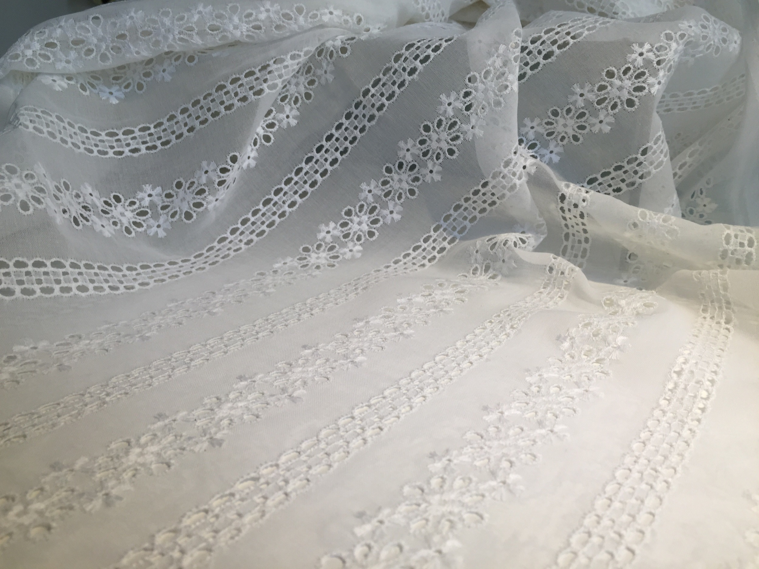Broderie Anglaise: a light but solid fabric (like a cotton voile)which is embroidered with a pattern composed of small round or oval holes which are bound in overcast (buttonhole) stitches. These little holes, commonly known as eyelets, can be accompanied by embroidered details, like the small flowers seen above. This style originated in the 16th century in Eastern Europe, but was popularized in the Victorian era in England.