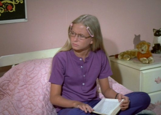 Eve Plumb, as middle daughter Jan. The middle child; jealous of Marcia.