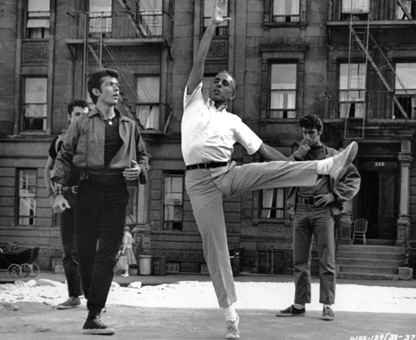 Jerome Robbins on the set of the film version.