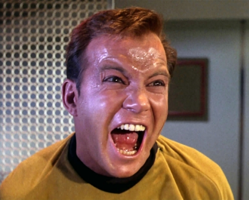 """Captain Kirk having a moment ... """"All right, you mutinous, disloyal, computerized half-breed. We'll see about you deserting my ship."""""""