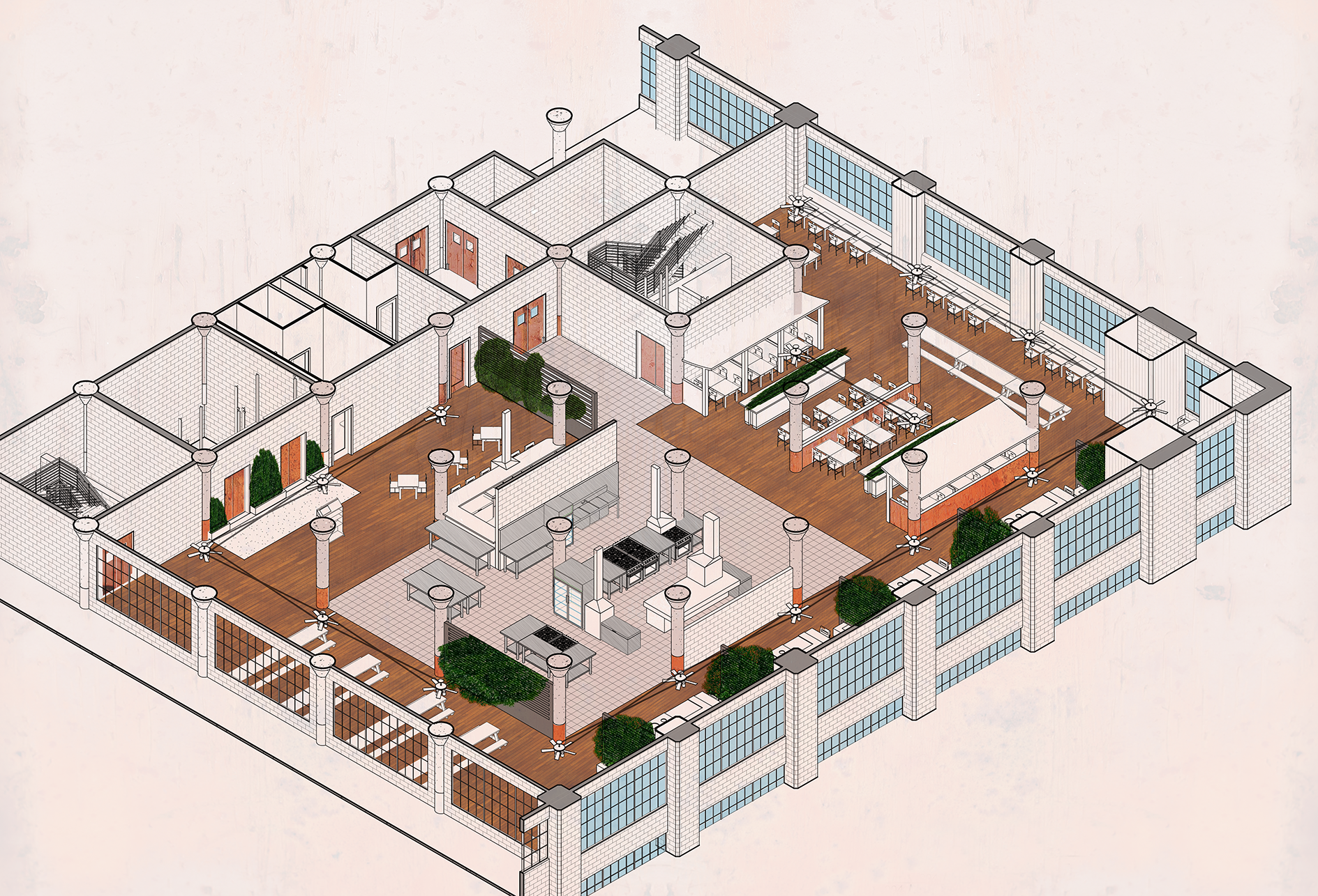 Indus  (Old Strategy)  - Bringing new life into one of Detroit's abandoned industrial infrastructures by combining Building Integrated Agriculture with a space to consume the produce created.