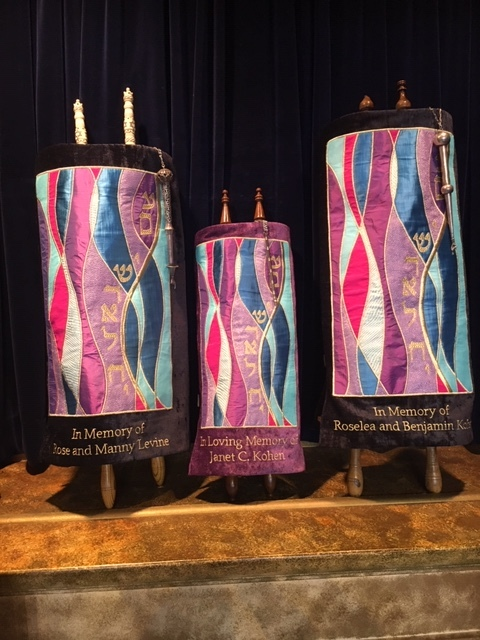 - These are the new Torah mantles dedicated at the Shabbat service on 9.6.19 as Rabbi Grumbacher officiated at his first service at Beth El.