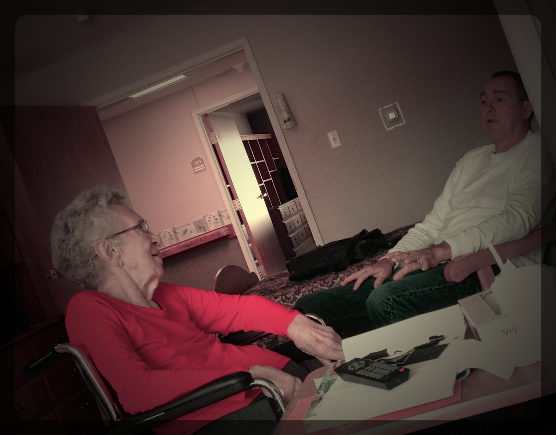 Larry and his 87 year old Mom, Luella, chatting in her room at Rehab, nearly 9 weeks after a stroke.